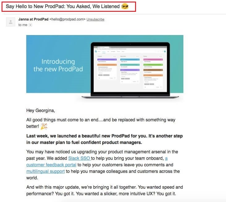 Prodpad-product-launch-email-and-subject-line-example