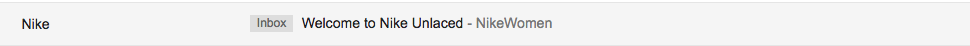 e-commerce newsletter welcome email subject line example from Nike