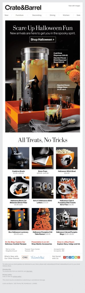 Ecommerce Halloween email design example