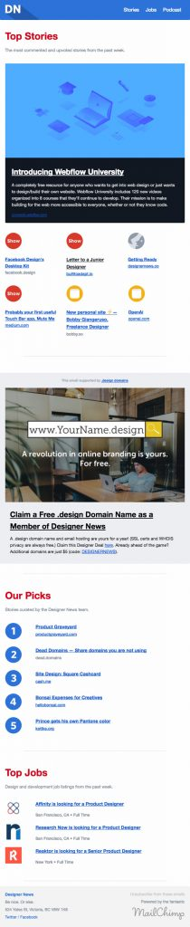 email newsletter design example from Designernews