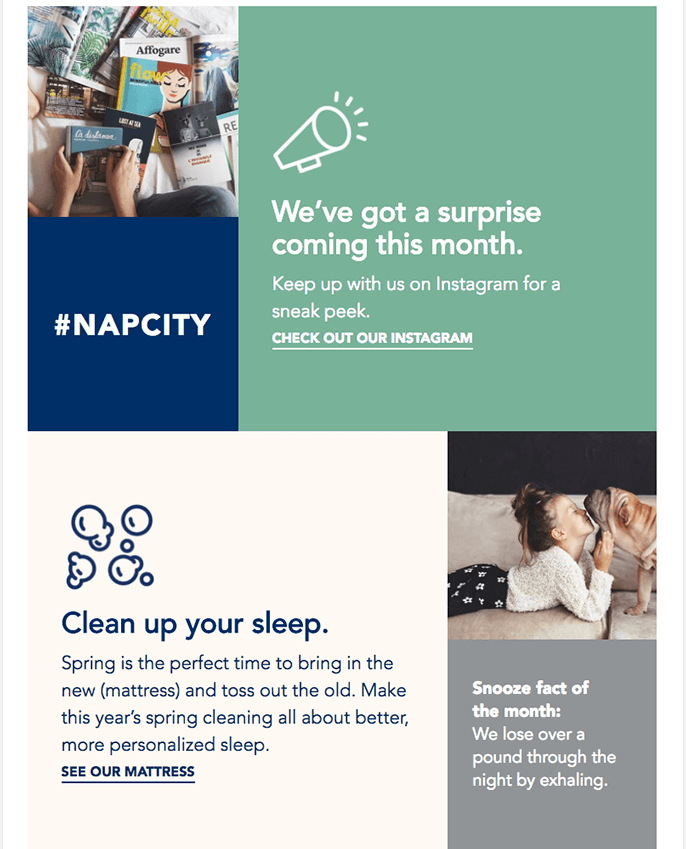 two-column content block design in email from Helix Sleep