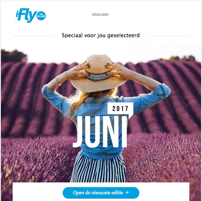 call-to-action in email sample from KLM/ matching the color of the brand with the hero image