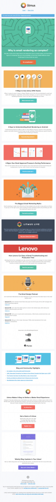 unusual call-to-action text in an email from Litmus