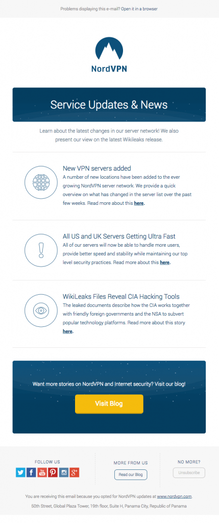 call-to-action contrasting colors in email example from NordVPN