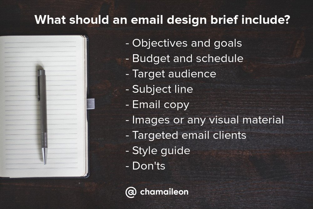 What should an email design brief include