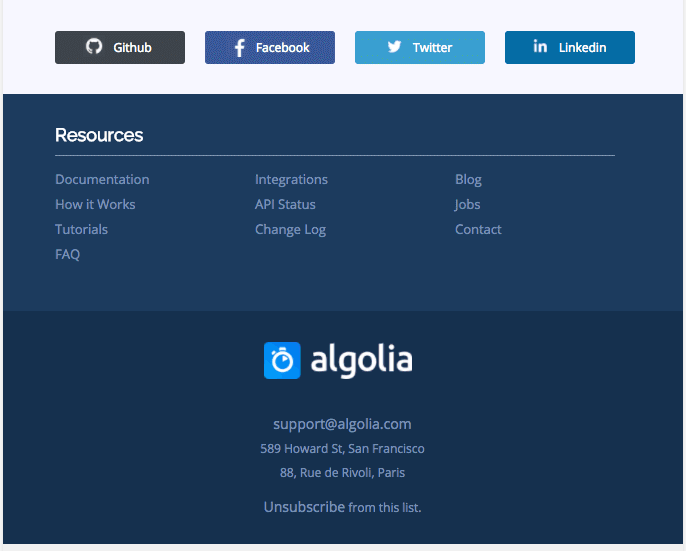Email footer design example from Algolia