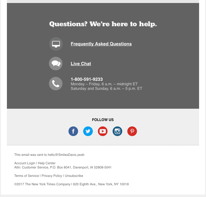 Email footer sample by The New York Times