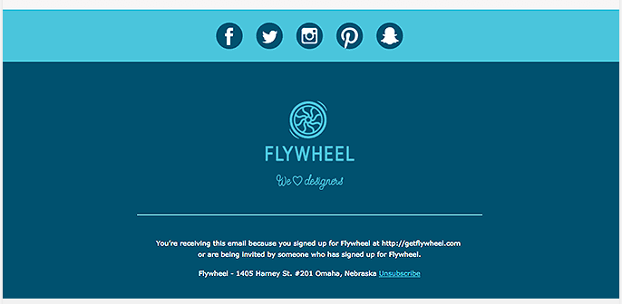 Email footer design best practice from Flywheel
