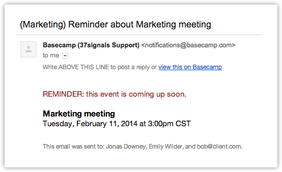 Marketing event reminder email template example