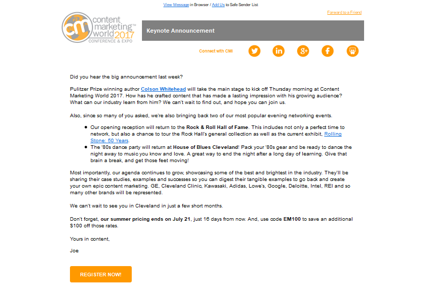 example of an email from the Content Marketing Institute