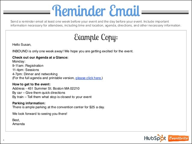 Reminder email template example