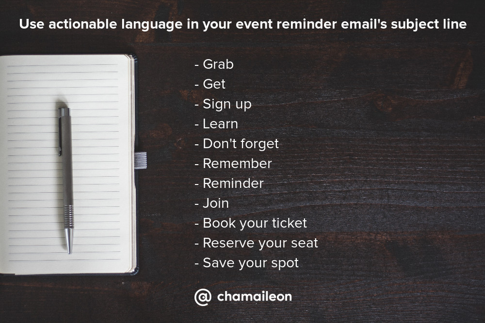 Actionable tips for event reminder email's subject line