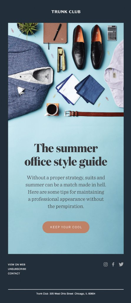 email font best practice example from Trunk Club