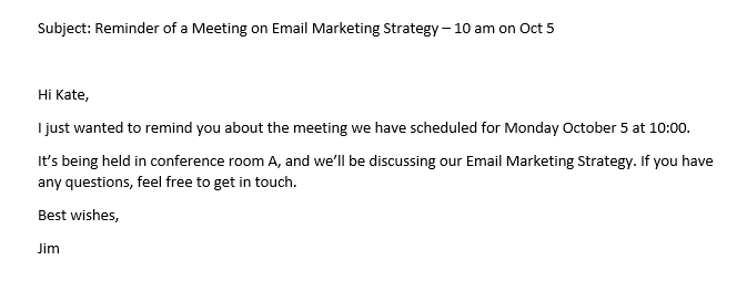 meeting reminder email template