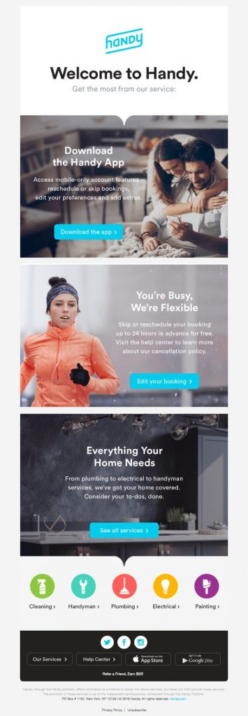 handy welcome email design example