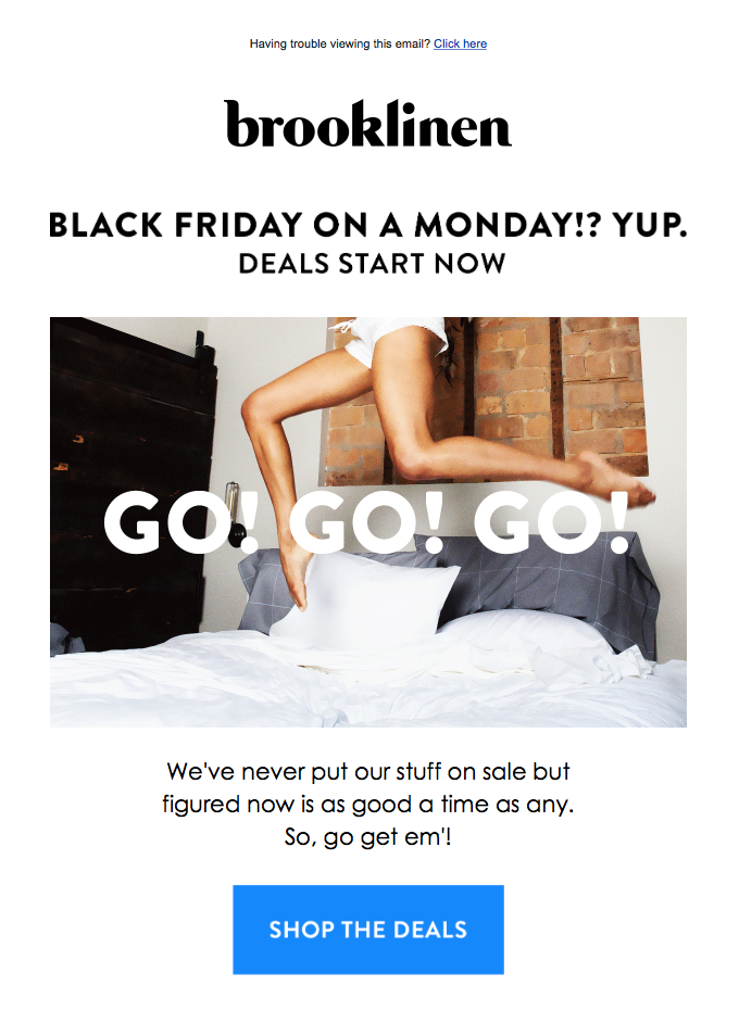 its-go-time-brooklinen-pre-black-friday-email