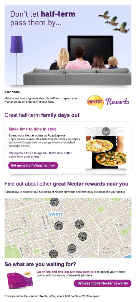 Nectar rewards re-engagement email