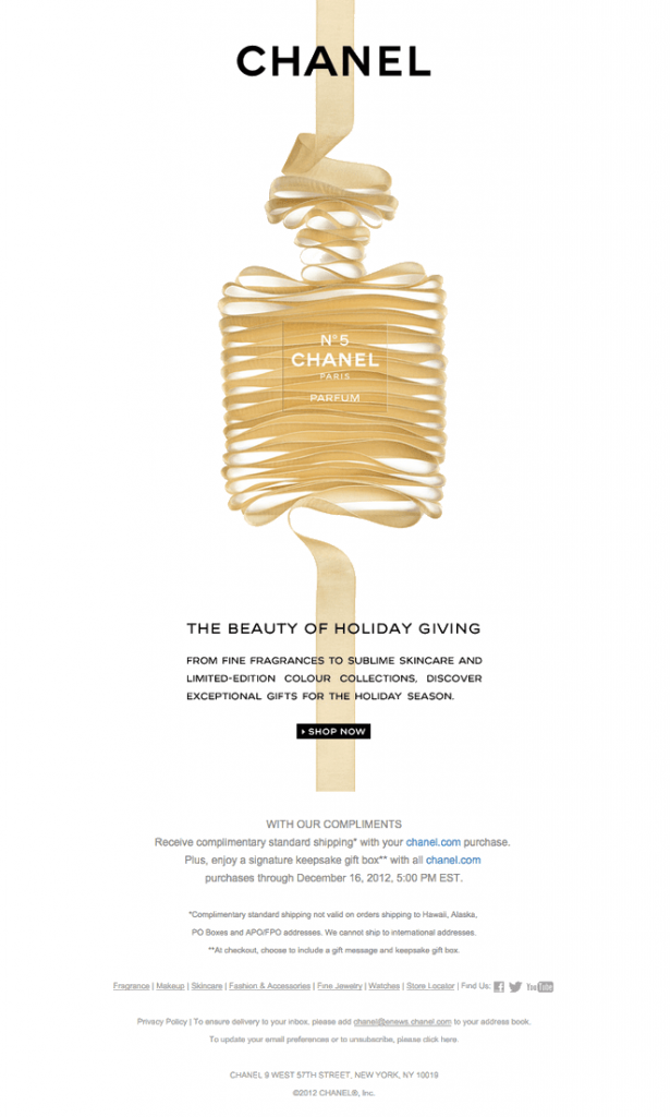 email newsletter header design example by Chanel