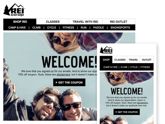 Newsletter navigation bar design example from Rei Coop
