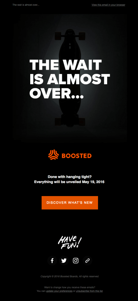 launch newsletter example by Boosted