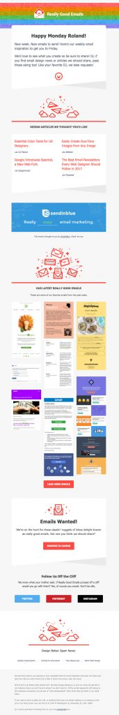 email newsletter design sample from Reallygoodemails