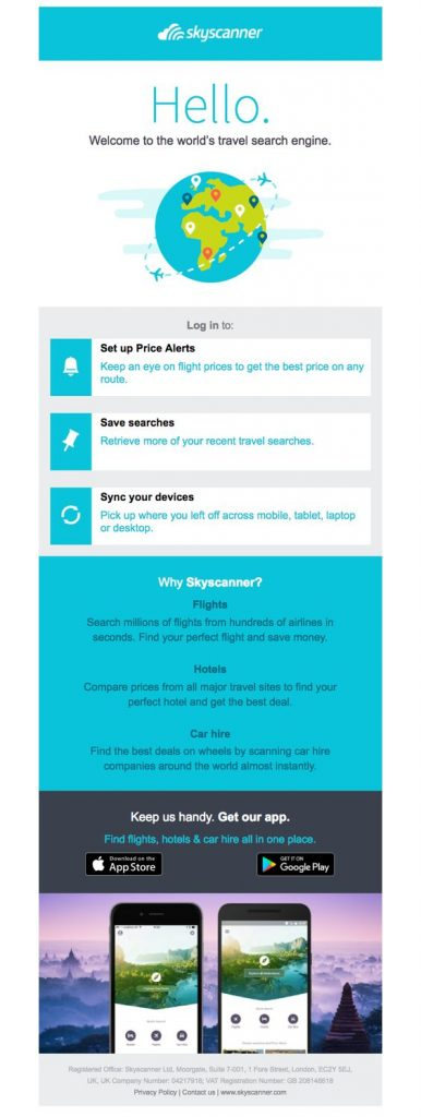 Skyscanner welcome email sample from travel search engine