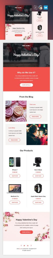 Free responsive email template of Valentine's day