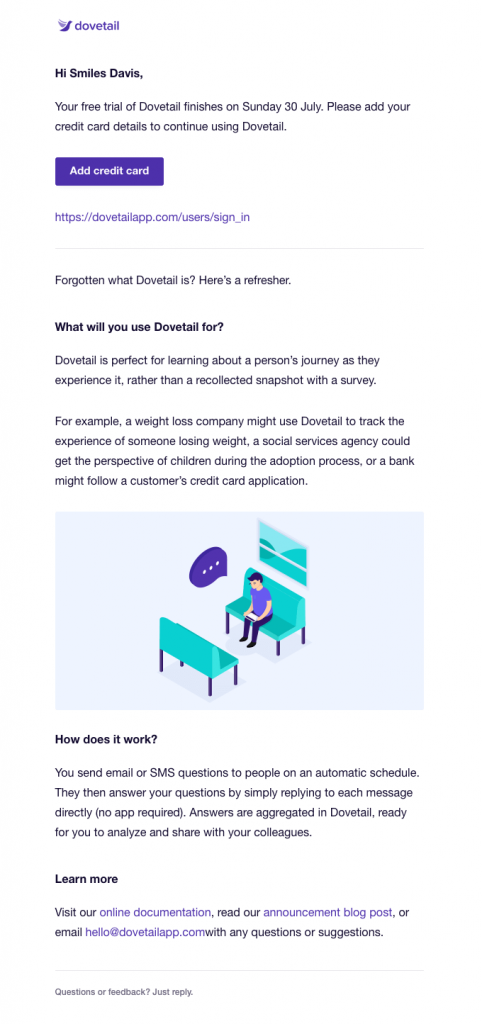 your-free-trial-of-dovetail-finishes-soon-dovetail-end-of-trial-period-email-example