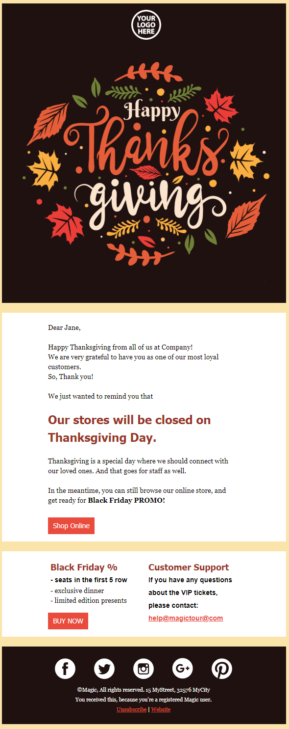Thanksgiving Email Templates, 12 Free Thanksgiving Email Templates