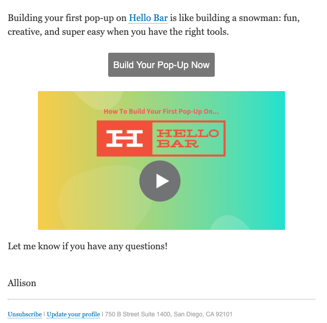 hellobar welcome email