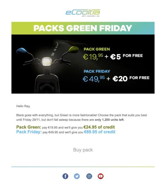 Tiered upsells - Take advantage of Green Friday Packs!