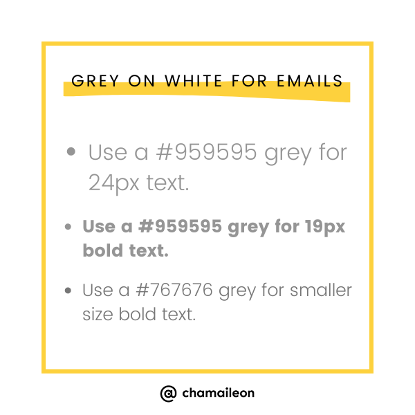 grey text on white background - email accessibility