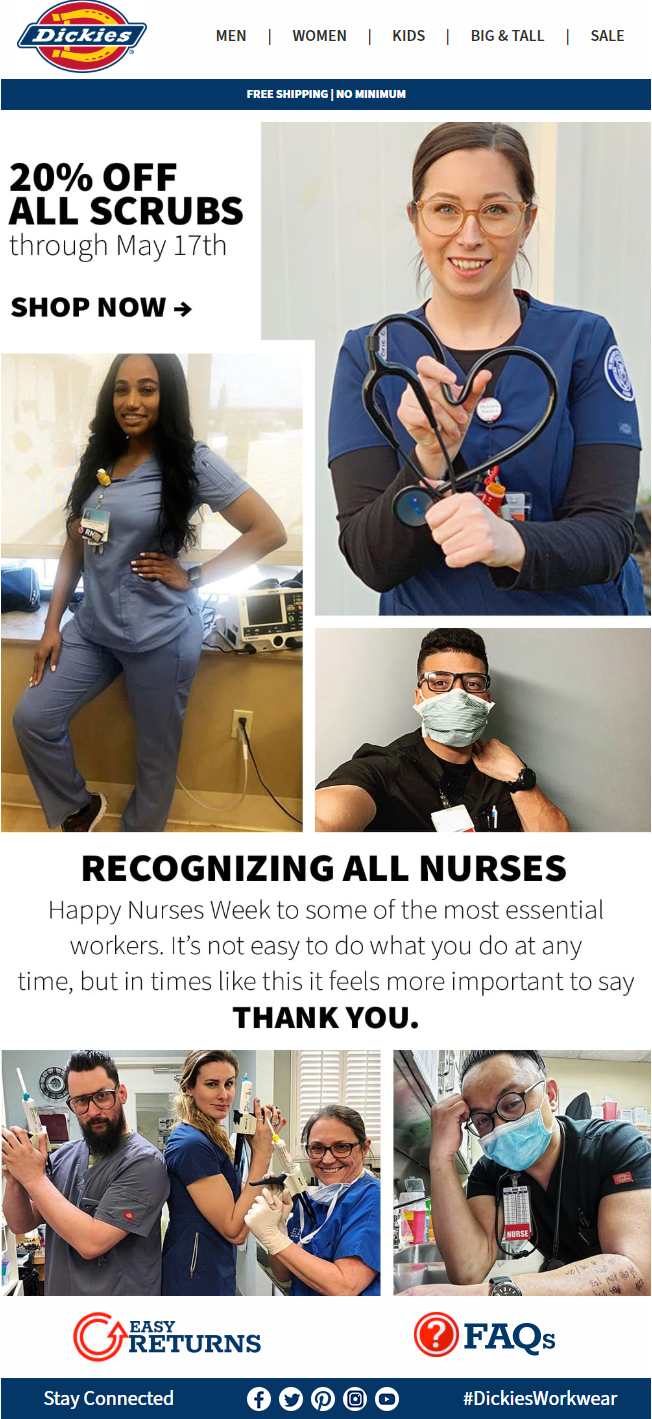 Percentage Off Scrubs, Dickies: Nurses Are More than Essential