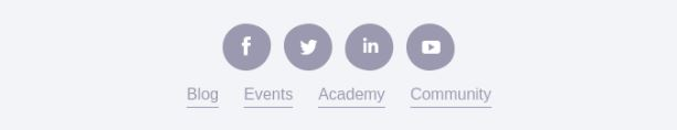 menu and social media icons in footer