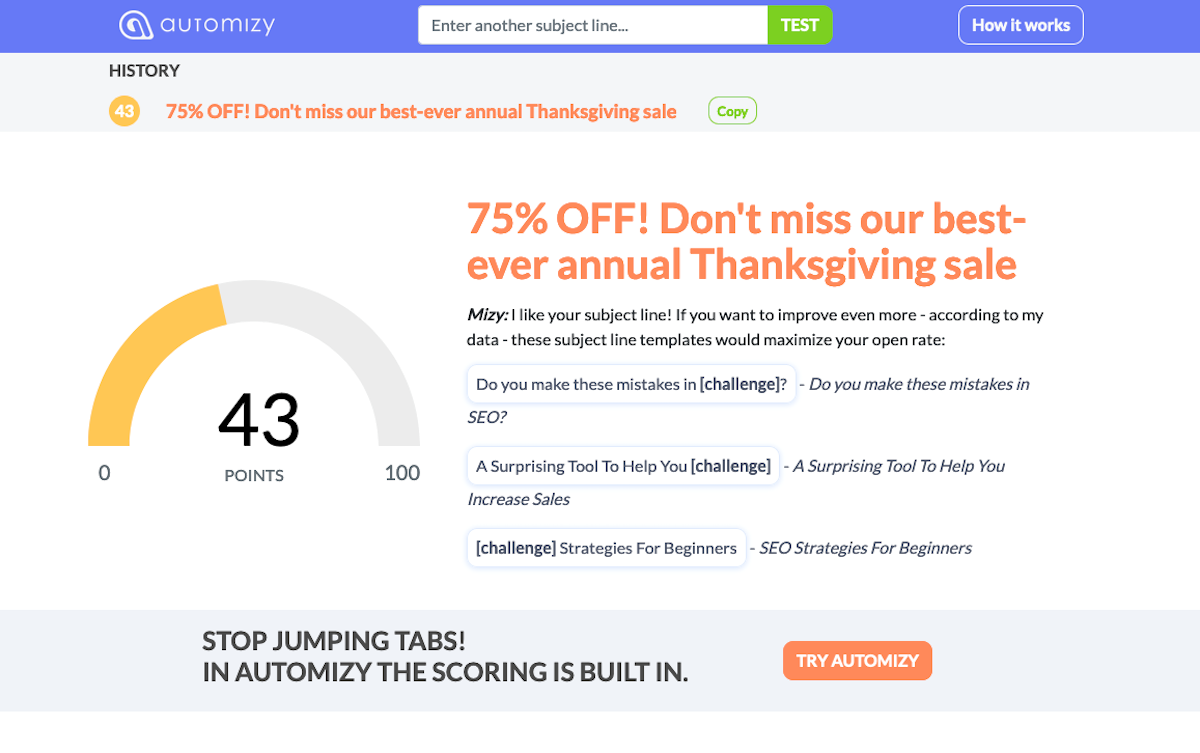 automizy email subject line