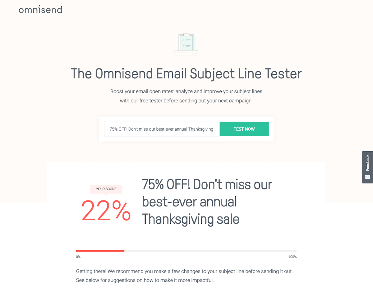 omnisend email tester