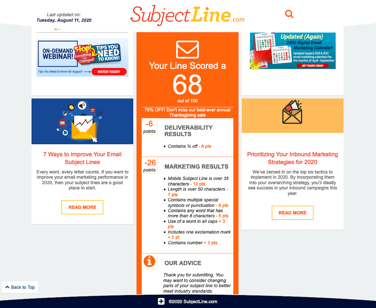 subject line email tester
