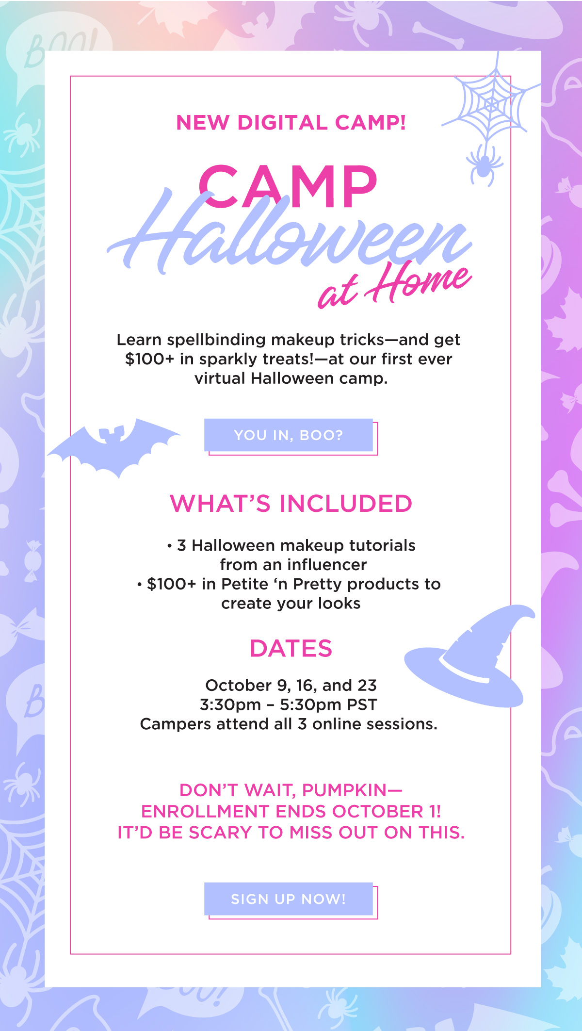Sign up for our NEW Halloween makeup camp