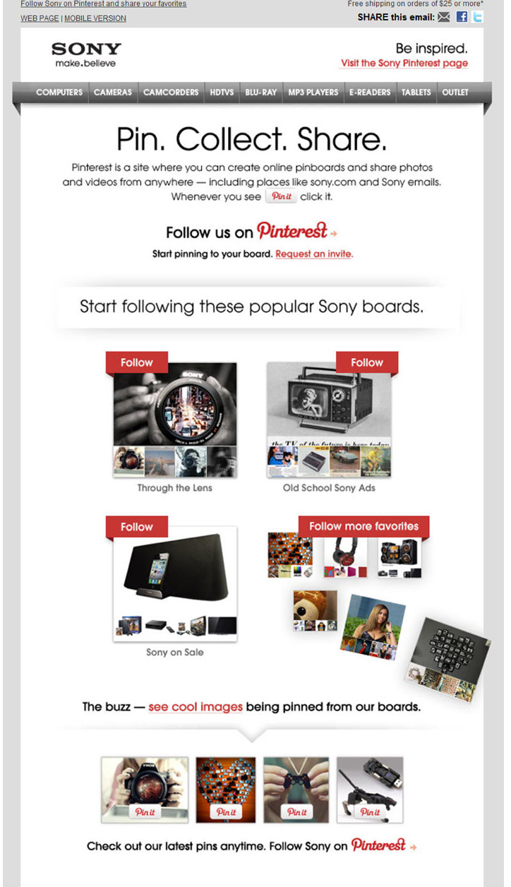 ony uses email to promote its Pinterest account with product recommendations