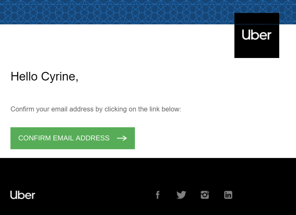 Confirm your email address - Uber