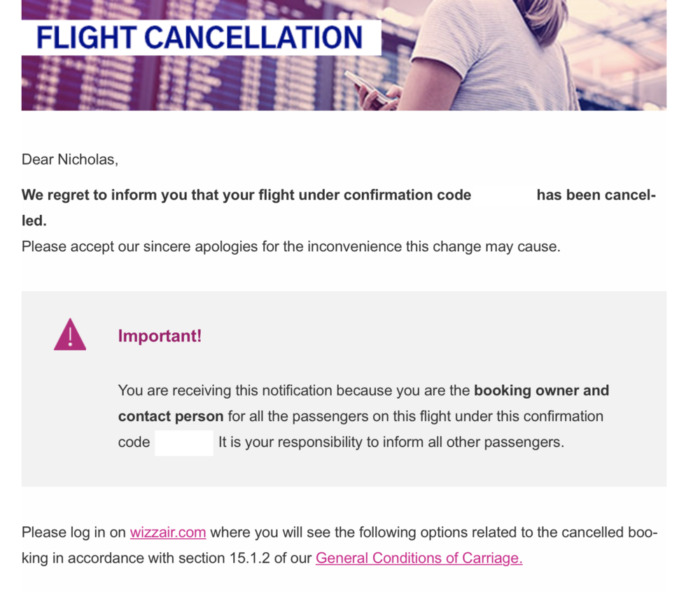 flight cancellation email
