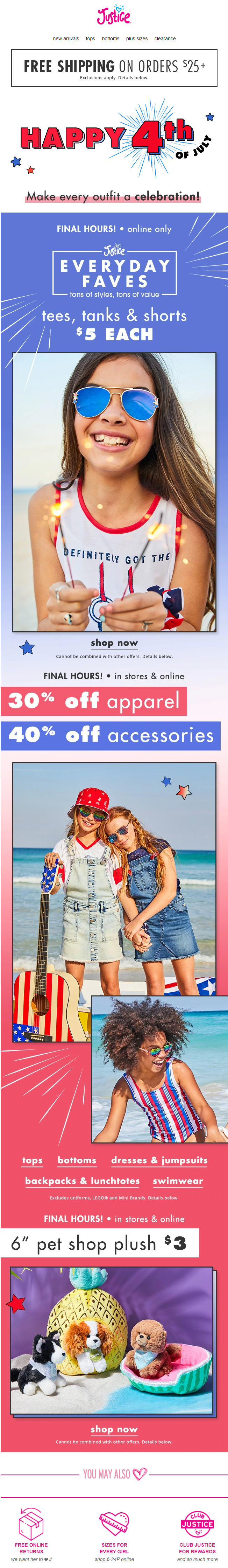 justice-final-hours-for-5-tees-tanks-and-shorts