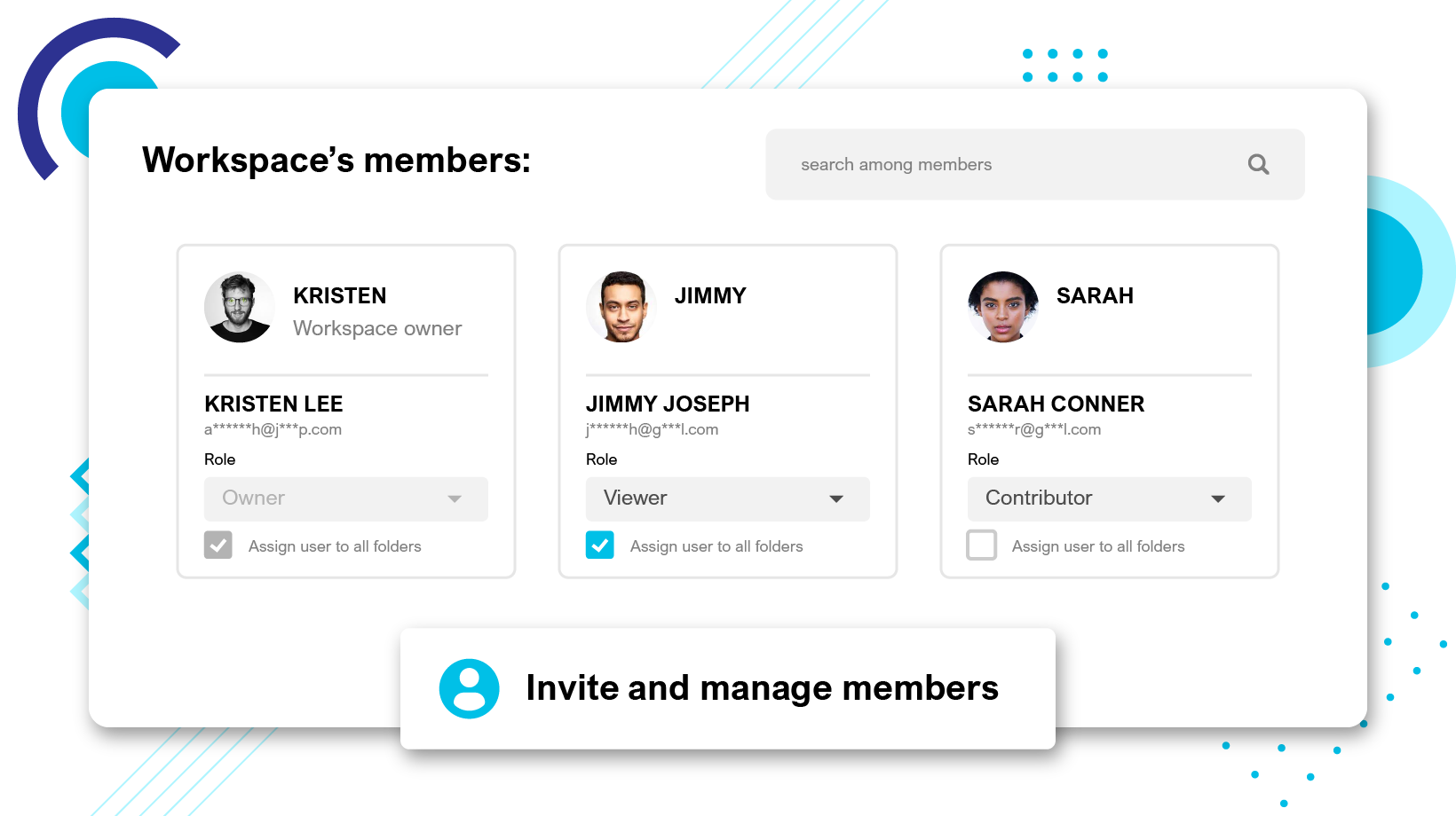 Invite your team members and clients to your company workspace