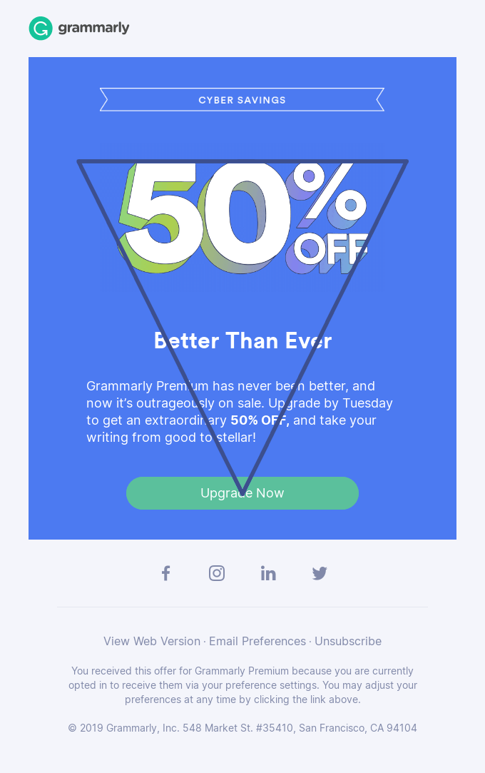 Grammarly example for an inverted pyramid email design