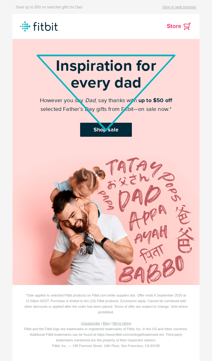 Fitbit example for an inverted pyramid email design