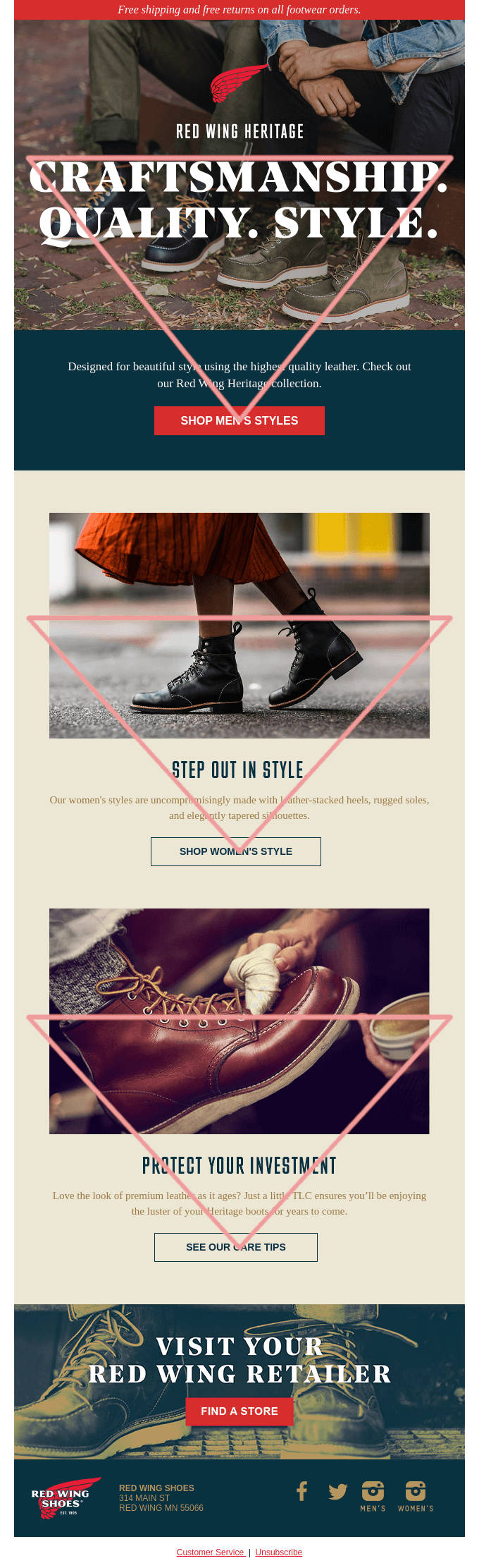 red wing heritage example for an inverted pyramid email design