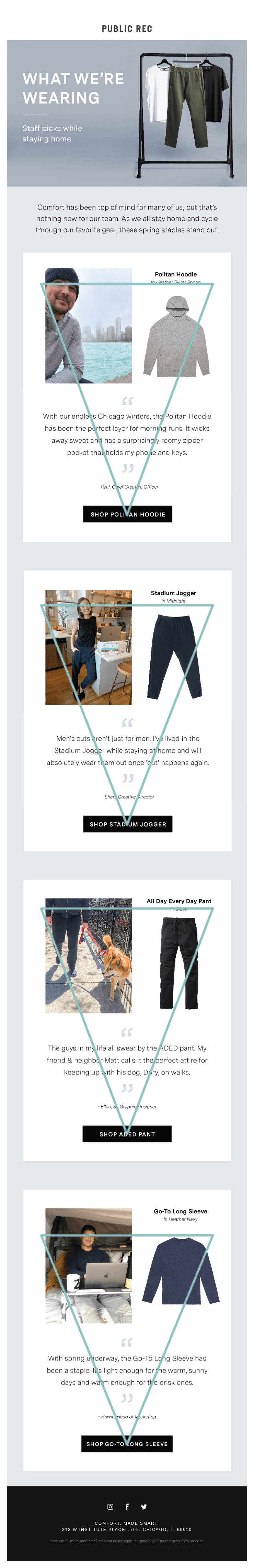public rec example for an inverted pyramid email design